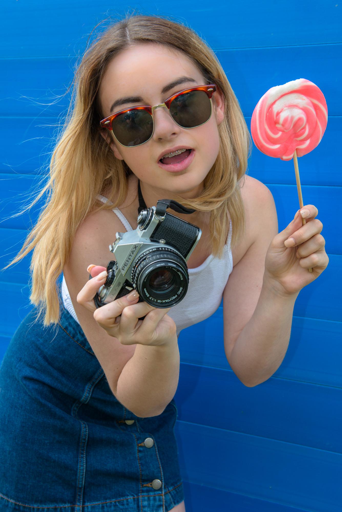 Thalia Northey model with vintage camera