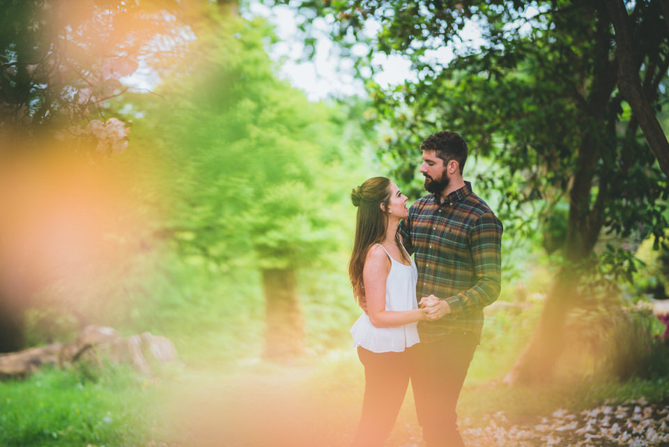 Swansea pre-wedding photo shoot Clyne Gardens holding each other