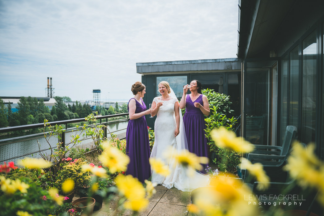 bridesmaids and bride in garden