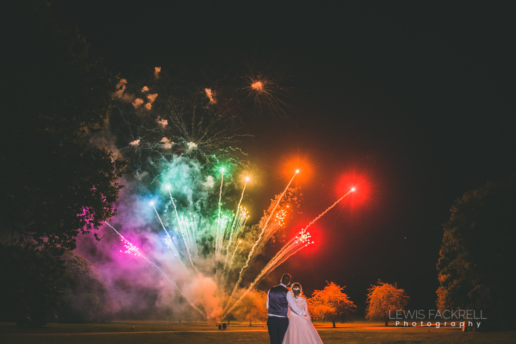 Thoresby Hall wedding fireworks in July
