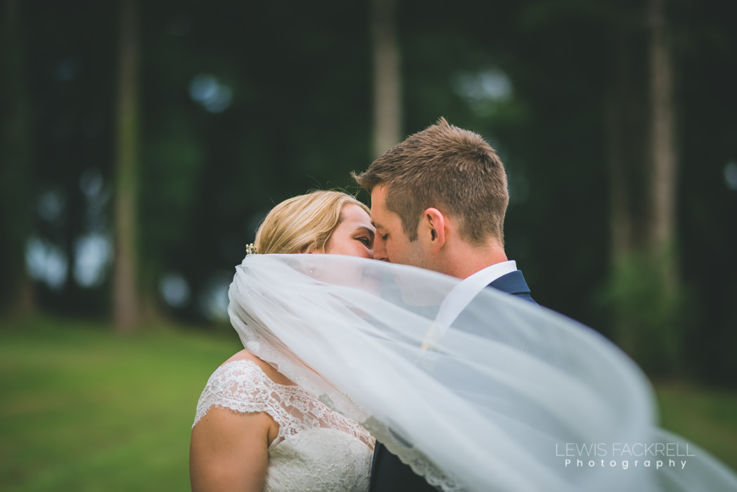 Bride groom kiss under veil