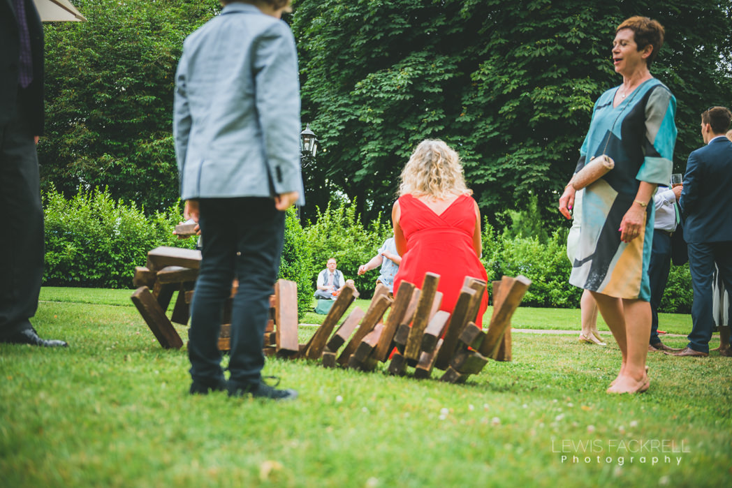Garden Jenga games at wedding