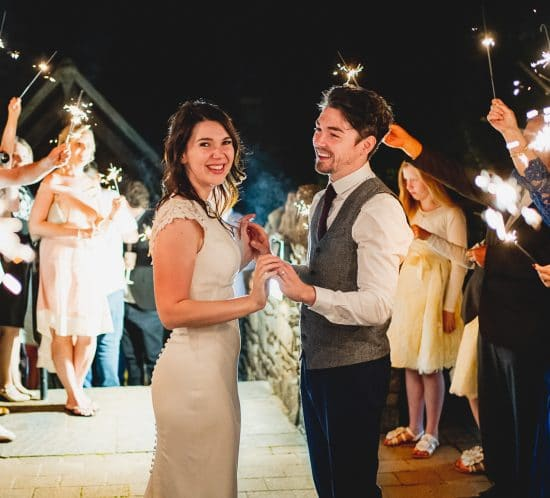 Canada Lodge wedding photography in Cardiff of couple with sparklers