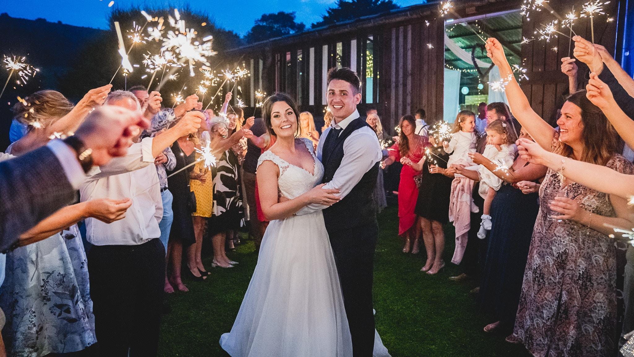 wedding sparkers at sugarloaf barn, Abergavenny