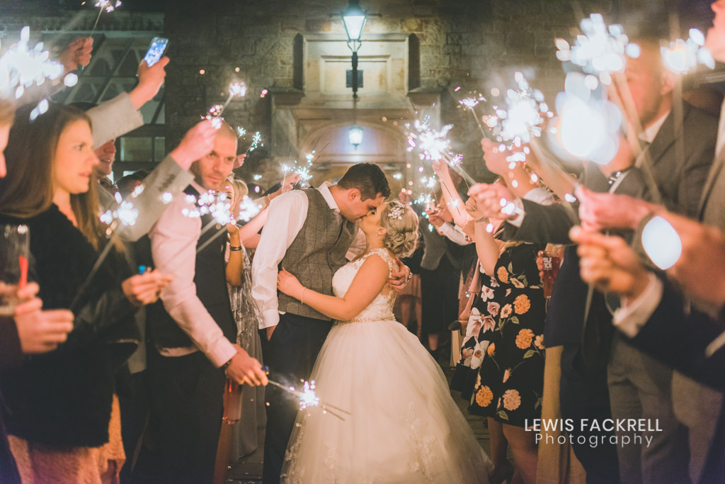 Bryngarw wedding photography of sparklers in March