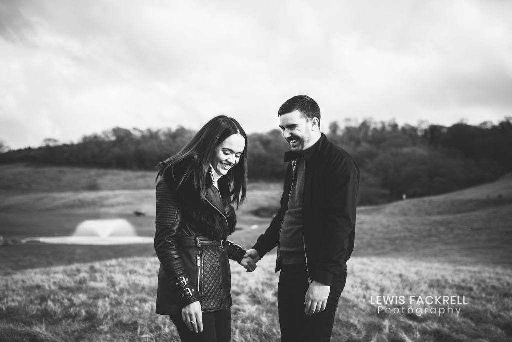 Celtic Manor pre-wedding photo session of couple on golf course in love