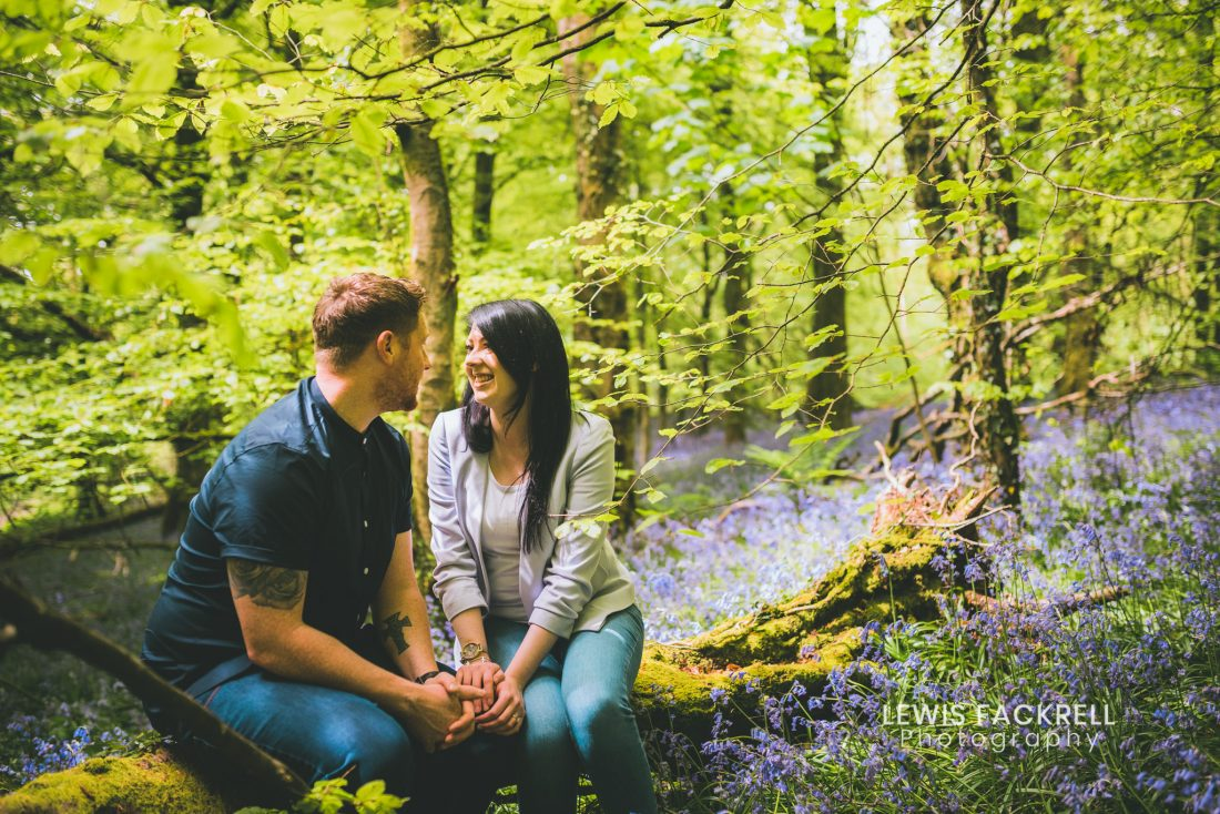 Cardiff pre-wedding photo session of couple in bluebells woods