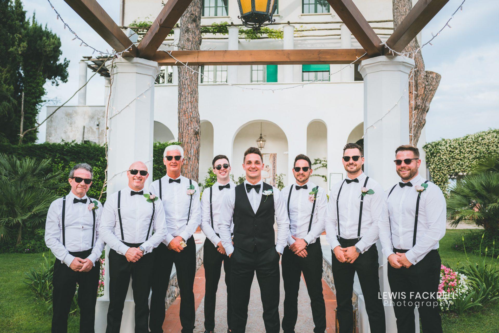 Wedding formal group photos at a wedding in Ravello, Italy