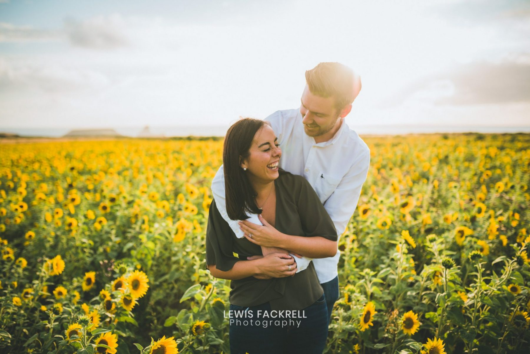 Gower wedding photography of sunflowers at Rhossili beach near old walls.