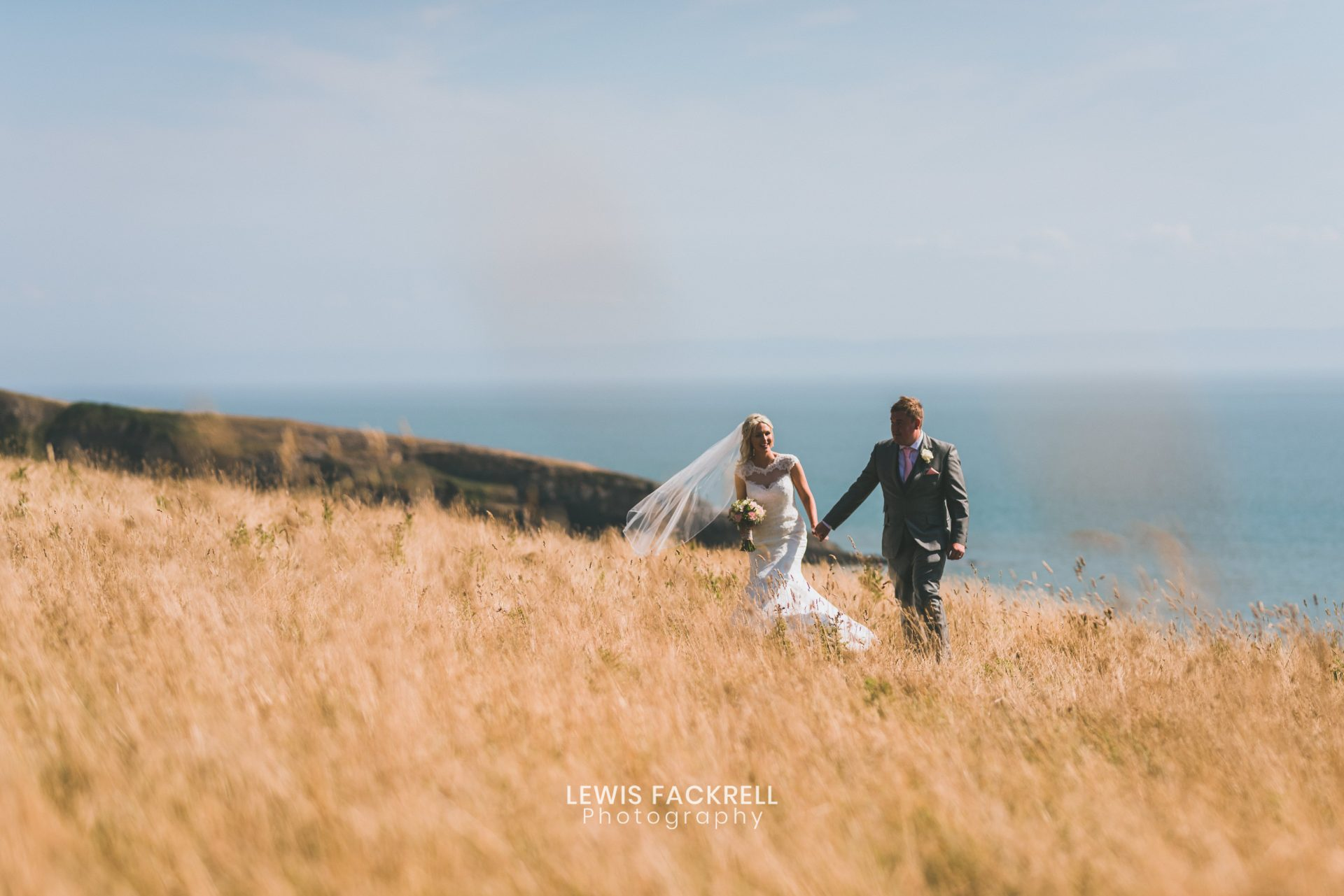 barn at west farm in ogmore with bride and groom on their wedding day