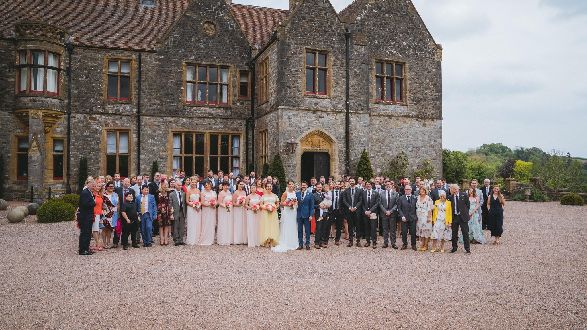 Group photos of wedding at Huntsham court in Devon