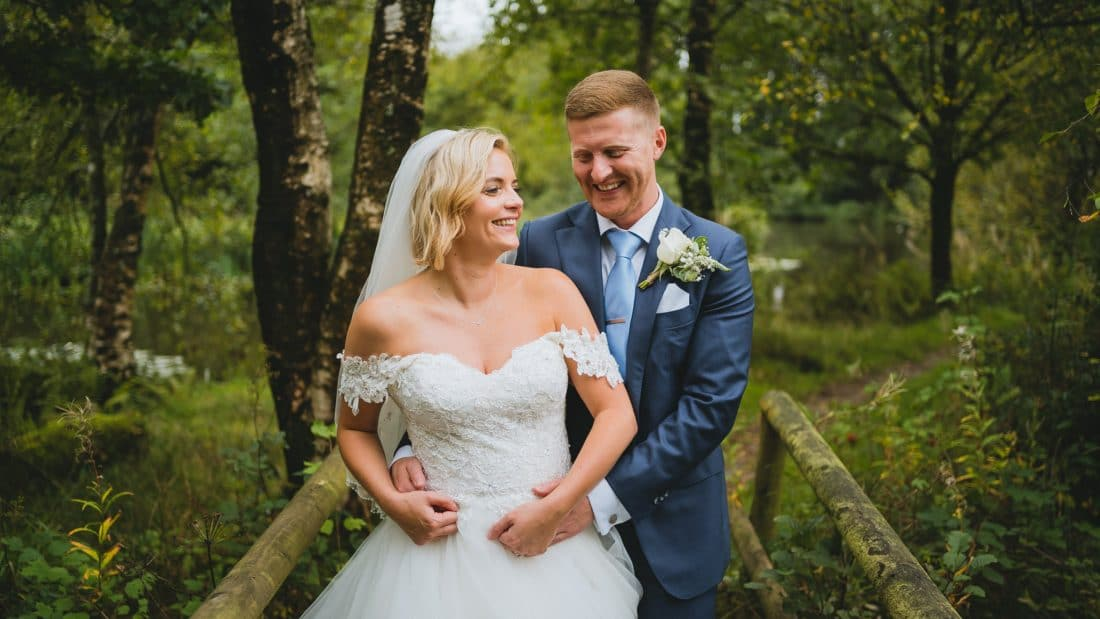 Cardiff wedding photographers in South Wales of bride and groom at Llanerch Vineyard