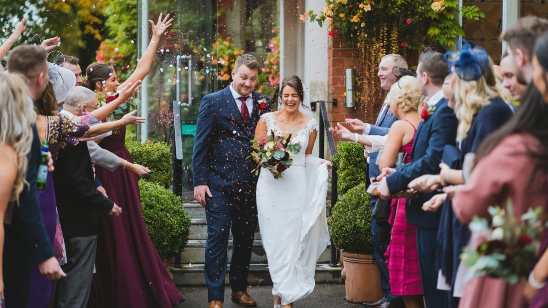Coed y mwstwr wedding photography in front of the coach house in October