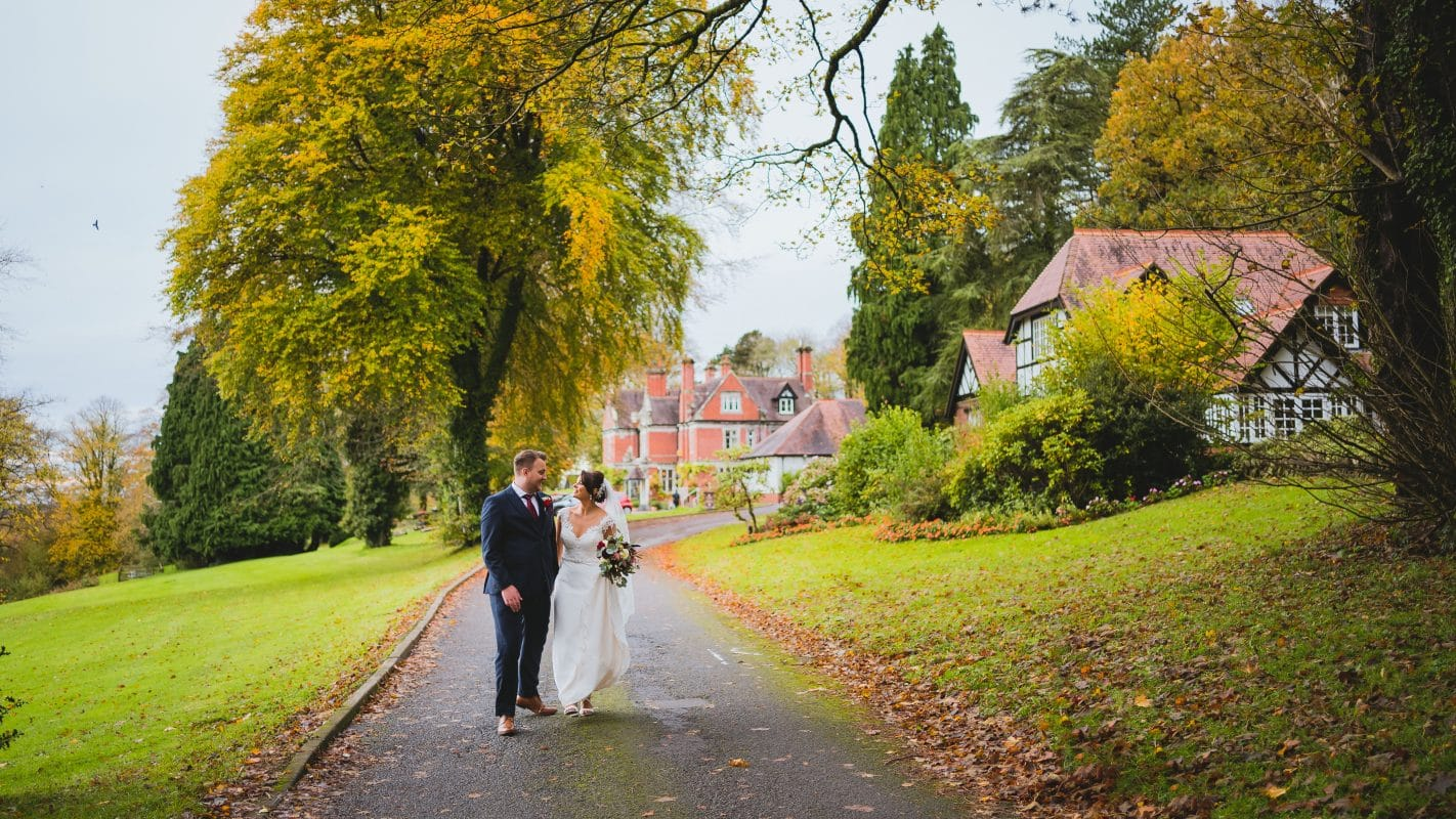 Coed-y-Mwstwr wedding photography venue where bride and groom got married in October