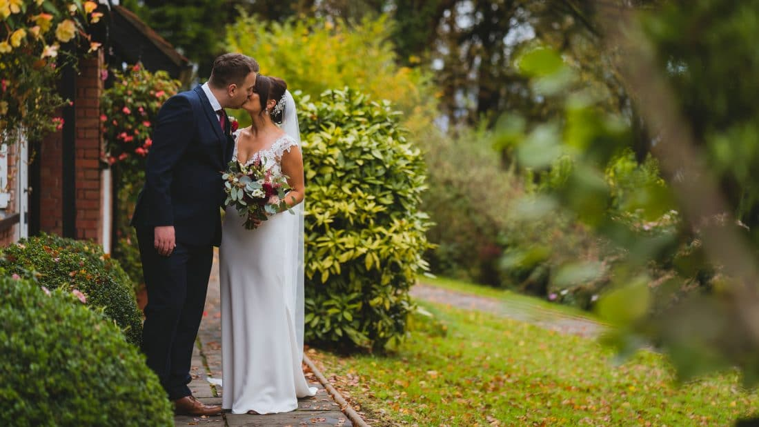 Coed y master wedding photography in front of the coach house in October