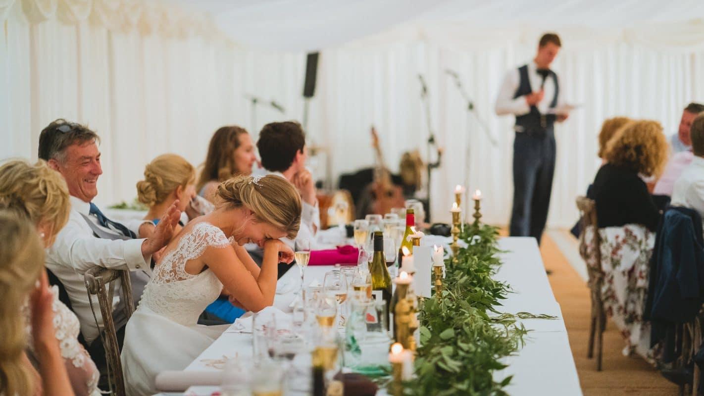 bride emotional doing grooms speech