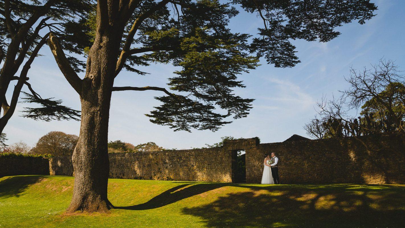 bride and groom at St Fagans