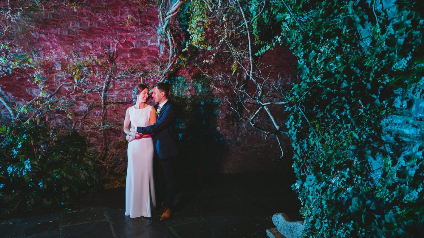 portraits of bride and groom at Miskin Manor