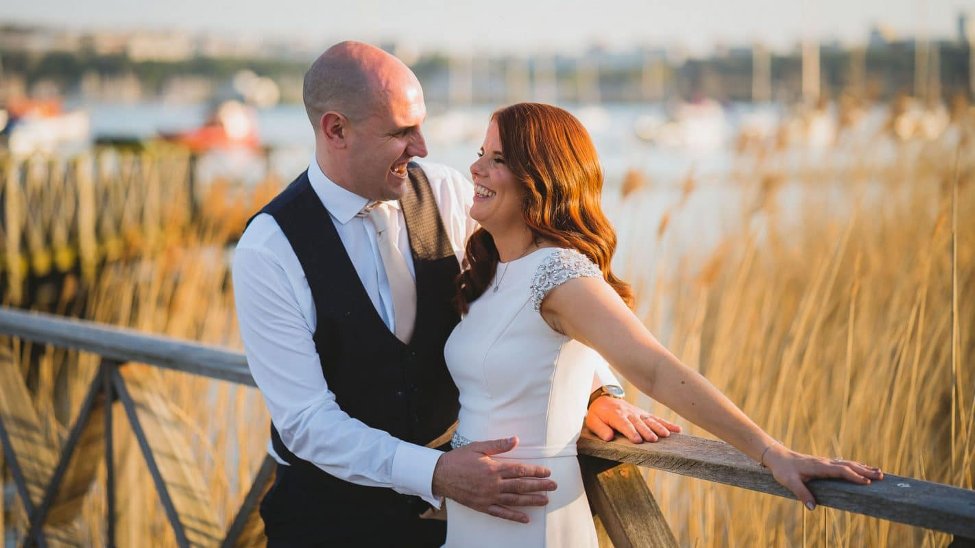 bride and groom during their portraits in Cardiff bay