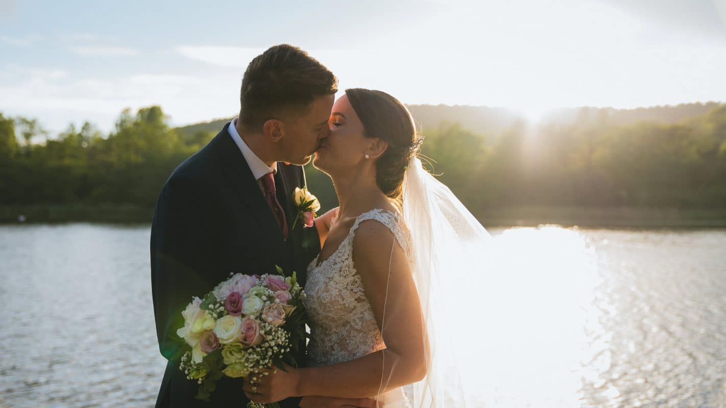 bride and groom kissing at Hensol Castle