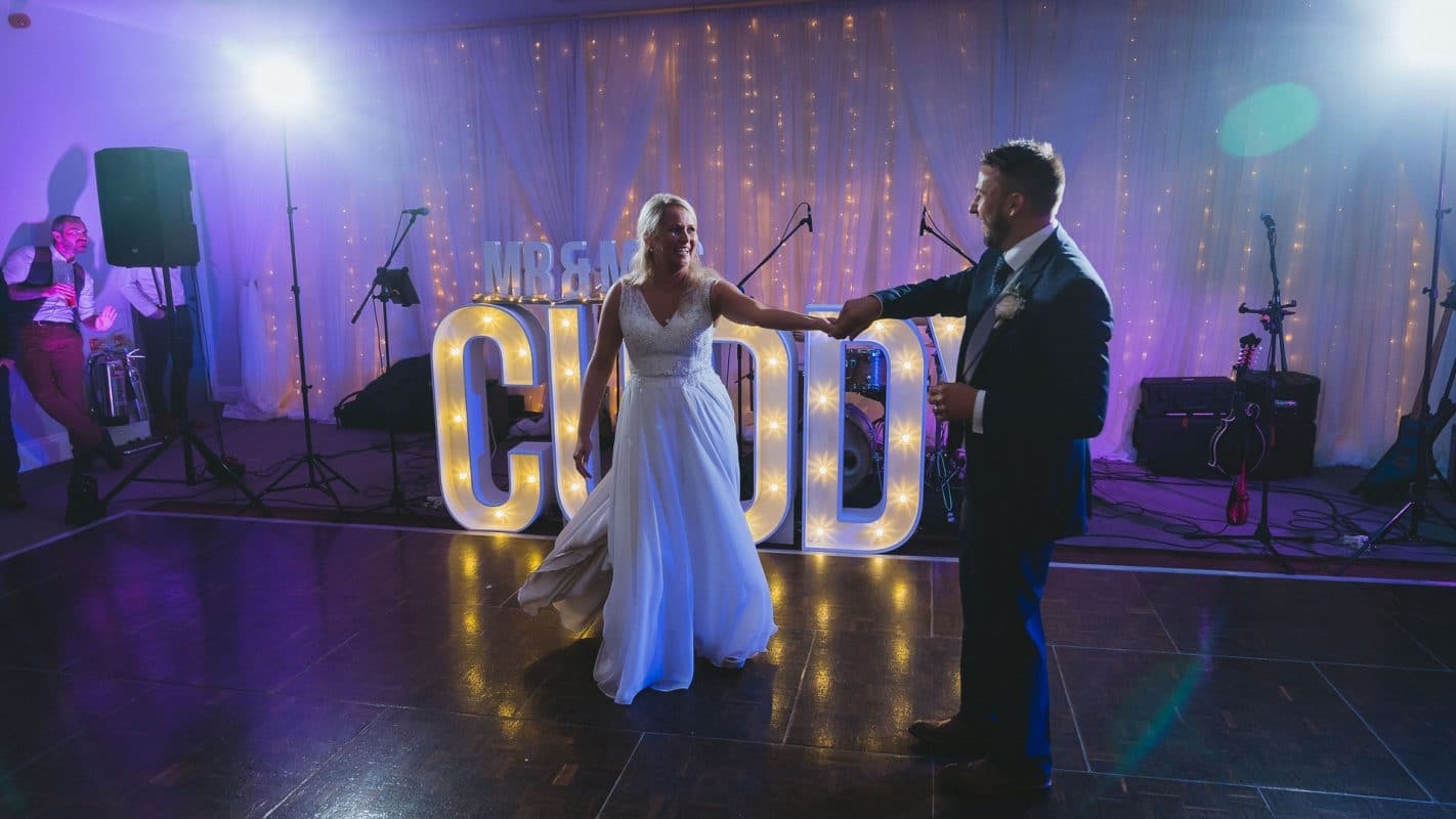 first dance between bride and groom at Hensol Castle