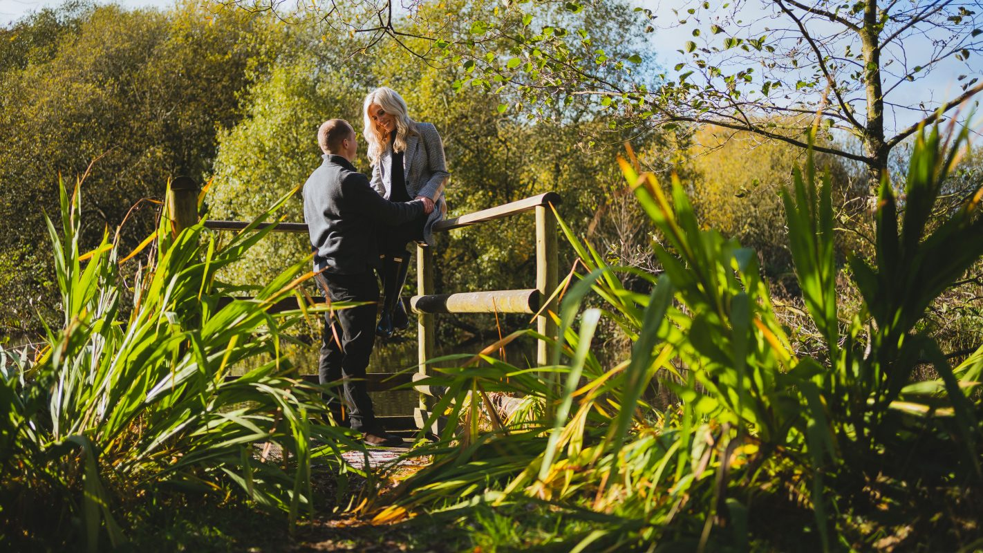 couple holding each other at Llanerch Vineyard wedding venue