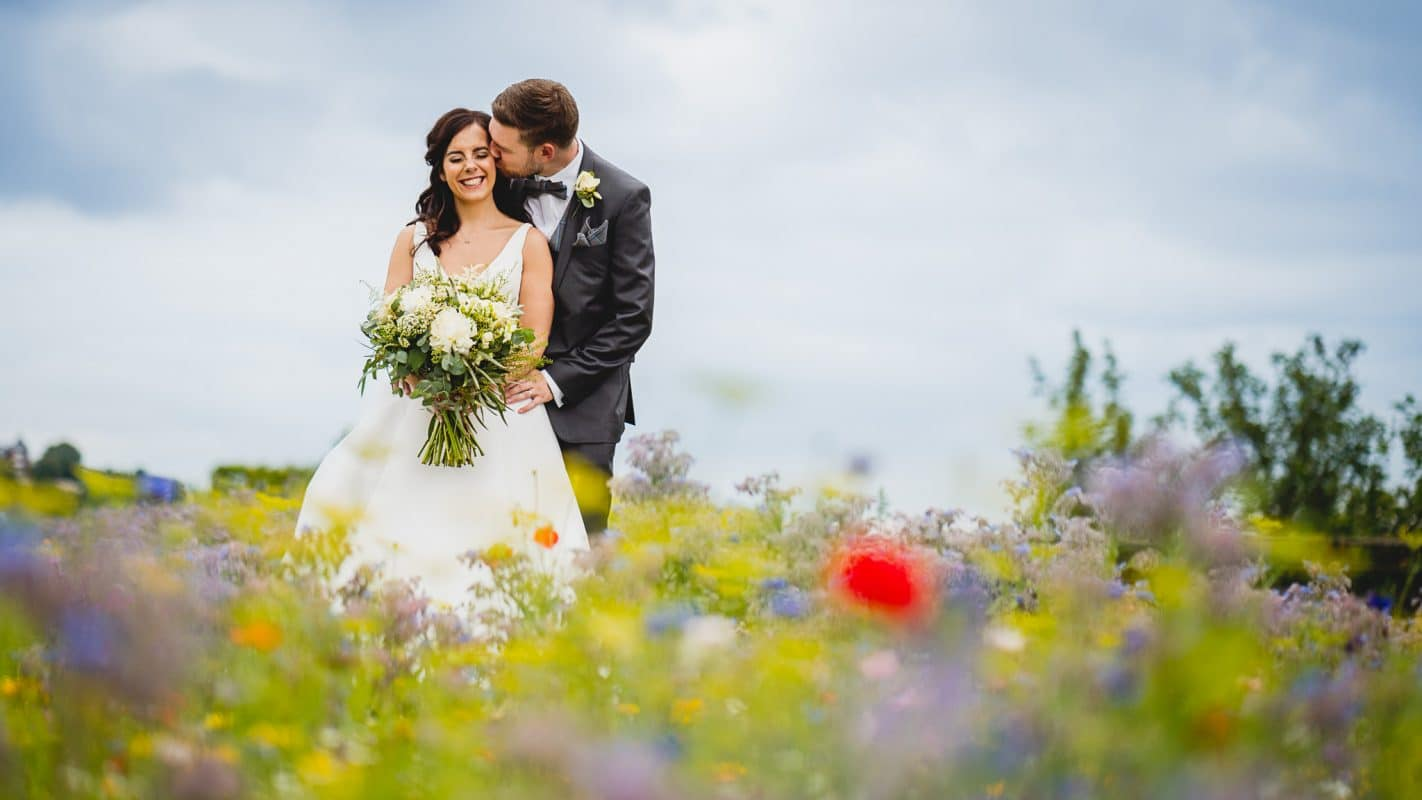 Bride and groom in Penarth during their South Wales wedding