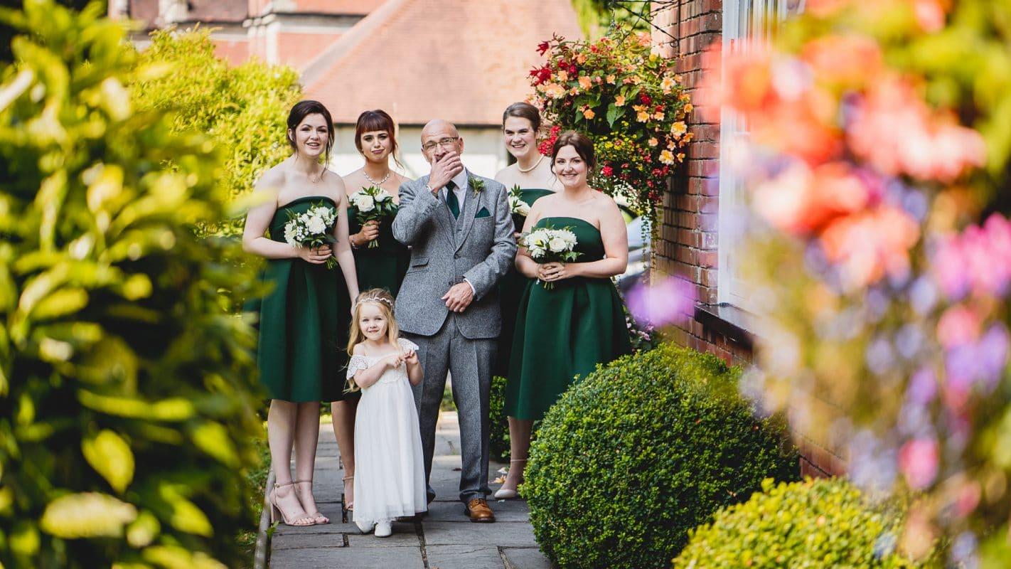 bridesmaids see bride before wedding ceremony