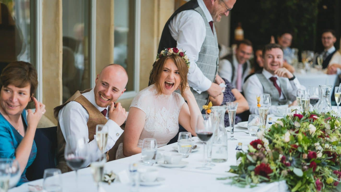Holm house wedding photography of bride and groom at their wedding reception